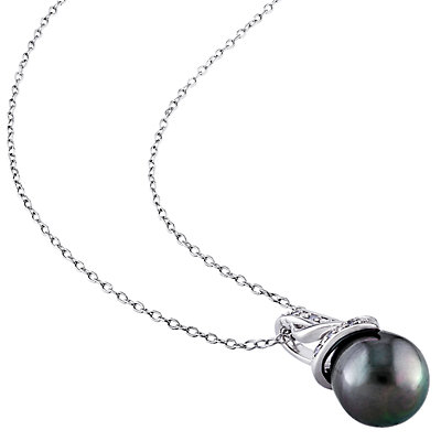 Stella Grace Sterling Silver Black Tahitian Cultured Pearl & Diamond Accent Pendant