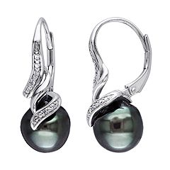 Stella Grace Sterling Silver Tahitian Cultured Pearl & Diamond Accent Earrings