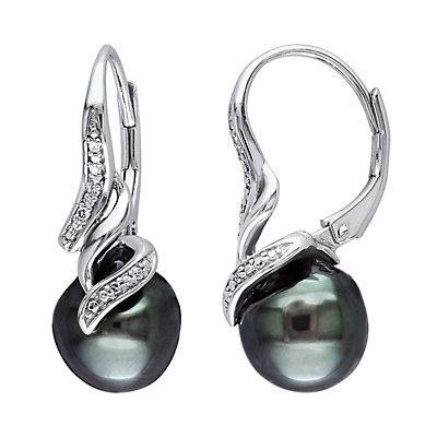 Stella Grace Sterling Silver Tahitian Cultured Pearl & Diamond Accent Earrings