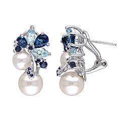 Stella Grace Sterling Silver Freshwater Cultured Pearl, Blue Topaz & Sapphire Earrings