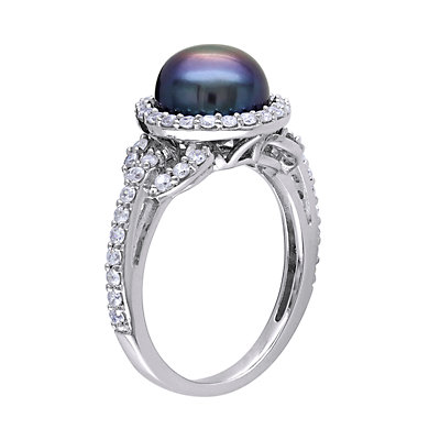 Stella Grace Sterling Silver Dyed Black Freshwater Cultured Pearl & Cubic Zirconia Ring