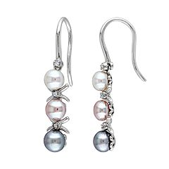 Stella Grace Sterling Silver Dyed Freshwater Cultured Pearl & Diamond Accent Linear Drop Earrings