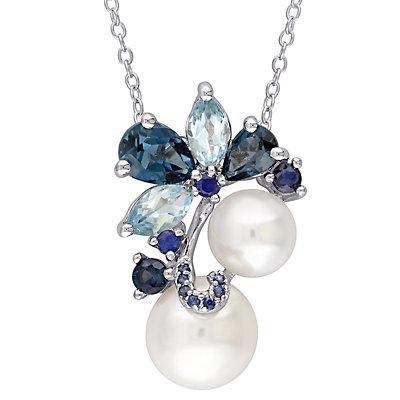 Stella Grace Sterling Silver Freshwater Cultured Pearl, Blue Topaz & Sapphire Pendant