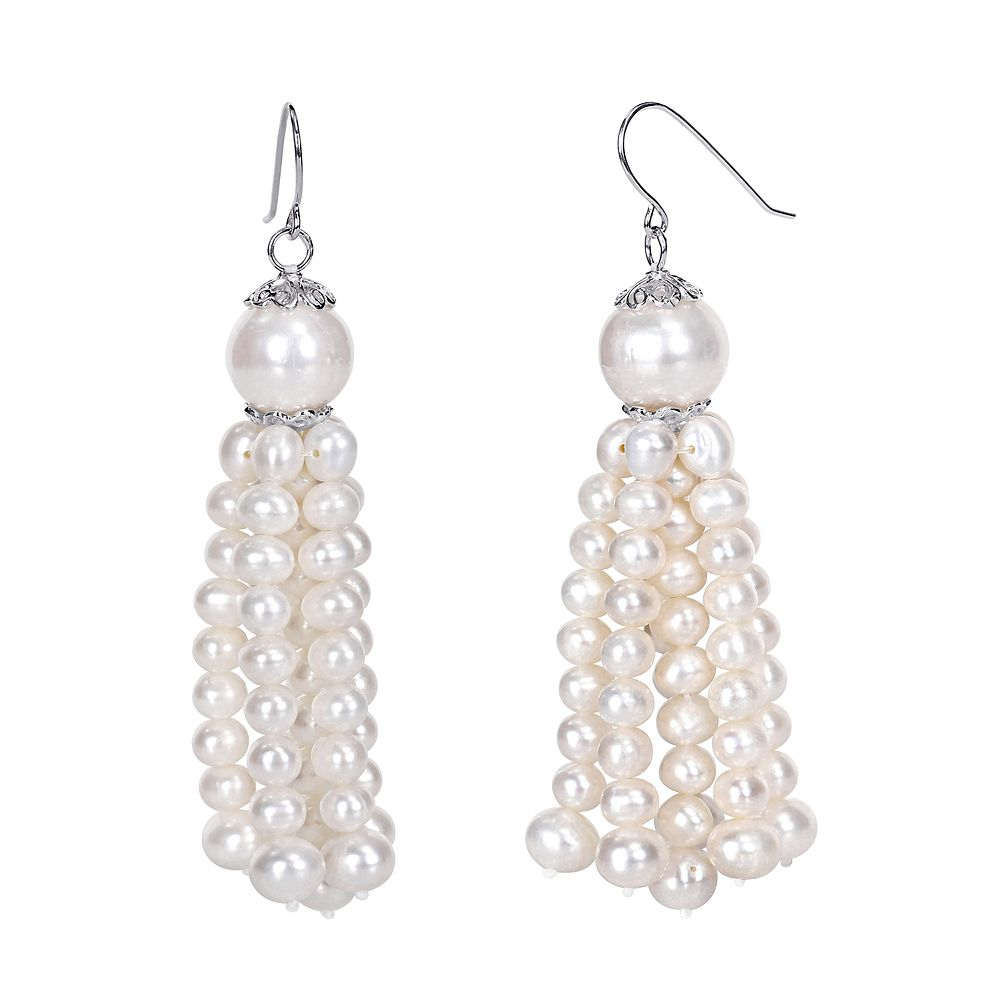 Stella Grace Sterling Silver Freshwater Cultured Pearl Tassel Earrings