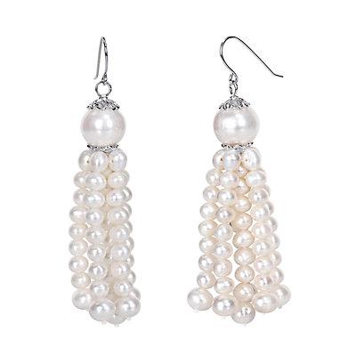 Stella Grace Sterling Silver Freshwater Cultured Pearl Tassel Earrings