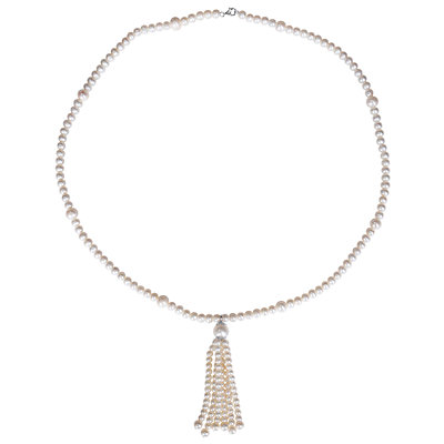 Stella Grace Sterling Silver Freshwater Cultured Pearl Tassel Necklace
