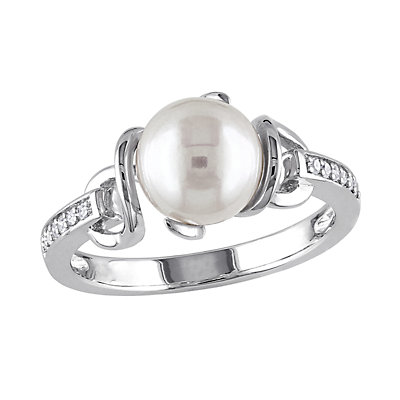 Stella Grace Sterling Silver Freshwater Cultured Pearl & Diamond Accent Ring