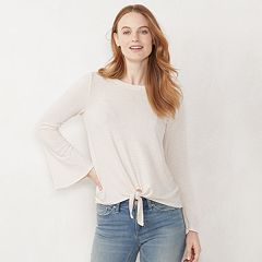 Women's LC Lauren Conrad Lounge Tie-Front Bell Sleeve Top