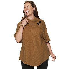 Plus Size Dana Buchman Mitered Cowlneck Sweater
