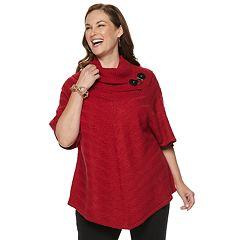 Plus Size Dana Buchman Mitered Cowlneck Sweater
