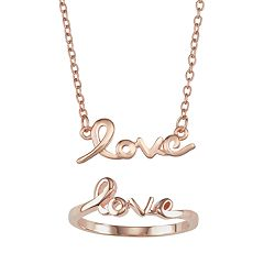 Necklace & Ring 2-piece 'Love' Jewelry Set