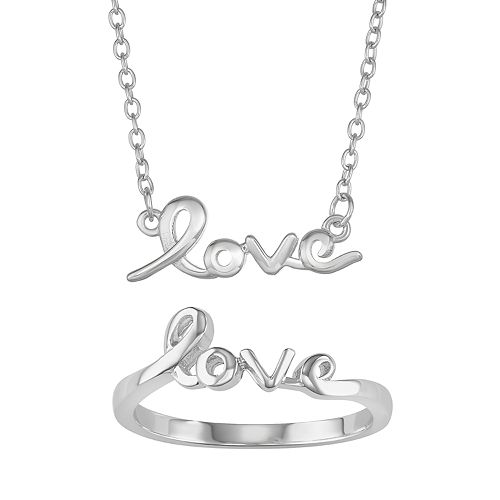 """Necklace & Ring 2-piece """"Love"""" Jewelry Set"""