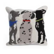 Liora Manne Frontporch Three Dogs Indoor Outdoor Throw Pillow
