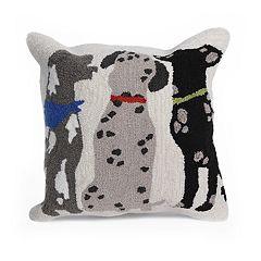 Liora Manne Frontporch Three Dogs Indoor Outdoor Throw Pillow