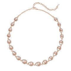 Rose Gold Tone Simulated Stone & Pearl Teardrop Collar Necklace