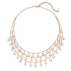 Rose Gold Tone Simulated Crystal Frontal Multi Strand Necklace
