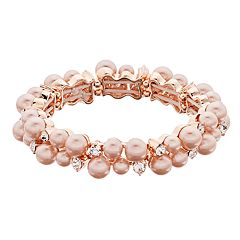 Rose Gold Tone Simulated Pearl & Stone Stretch Bracelet