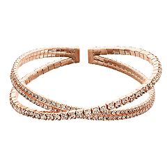 Rose Gold Tone Simulated Stone Coil Bracelet