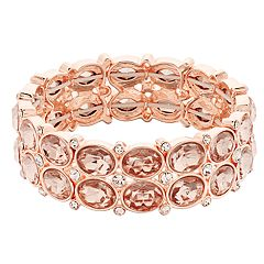 Rose Gold Tone Simulated Crystal & Stone Detail Stretch Bracelet