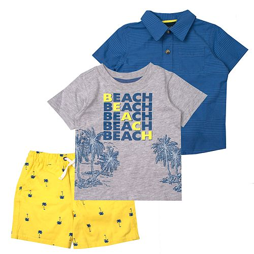 Toddler Boy Little Rebels 3 Piece Beach & Palm Trees Tee, Polo & Shorts Set