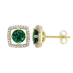 Stella Grace 10K Gold Gemstone & Diamond Accent Frame Earrings