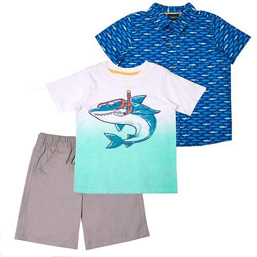 Toddler Boy Little Rebels 3 Piece Sharks Tee, Shirt & Shorts Set