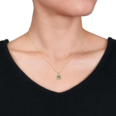 Stella Grace 10K Gold Gemstone & 1/10 ct. T.W. Diamond Frame Pendant Necklace