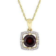 Stella Grace 10K Gold Gemstone & 1/10 ct. T.W. Diamond Frame Pendant Necklace