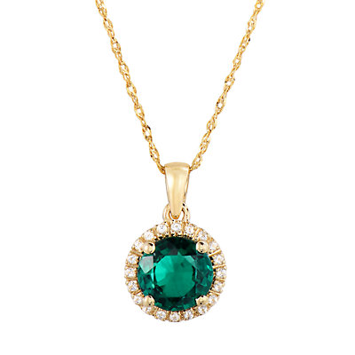 10k Gold Lab-Created Emerald & White Topaz Pendant Necklace