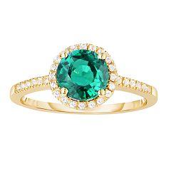 10k Gold Lab-Created Emerald & White Topaz Halo Ring