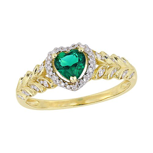 Stella Grace 10K Gold Heart Gemstone & Diamond Accent Ring