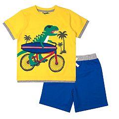 Toddler Boy Little Rebels Dinosaur Surfer Bike Tee & Shorts Set