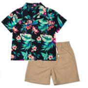 Toddler Boy Little Rebels Tropical Button Down Shirt & Khaki Shorts Set