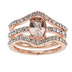 Rose Gold Tone Simulated Stone & Crystal Stacked Detail Ring