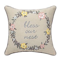 Bless Our Nest with Embroidered Wreath Pillow