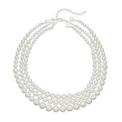 Silver Tone Simulated Pearl Collar Statement Necklace