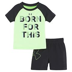 Baby Boy Under Armour 'Born For This' Raglan Graphic Tee & Shorts Set