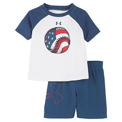 Baby Boy Under Armour American Flag Baseball Raglan Tee & Shorts Set