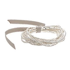 You're Invited… Silver Tone Simulated Stone Stretch Bracelet Set