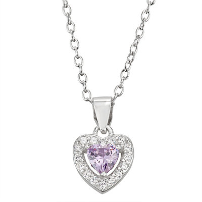 Junior Jewels Kids' Sterling Silver Simulated Birthstone Heart Pendant Necklace