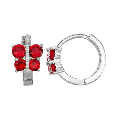 Junior Jewels Kids' Sterling Silver Simulated Birthstone Butterfly Hoop Earrings