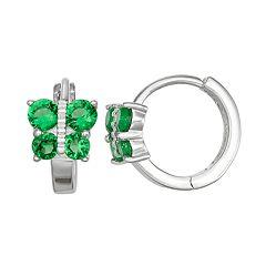 Junior Jewels Kids' Sterling Silver Simulated Birthstone Butterfly Hoop Earrings