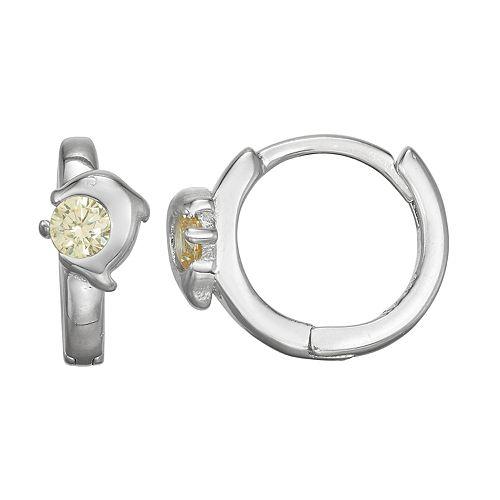 Junior Jewels Kids' Sterling Silver Cubic Zirconia Dolphin Huggie Hoop Earrings