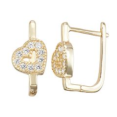 Junior Jewels Kids' Sterling Silver Simulated Birthstone Heart Earrings