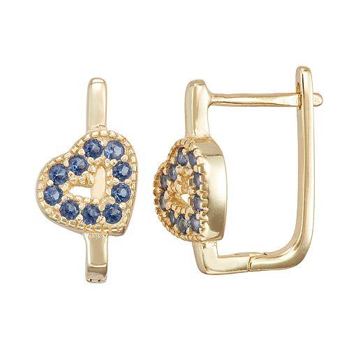 Junior Jewels Kids' Sterling Silver Simulated Birthstone Heart Earrings
