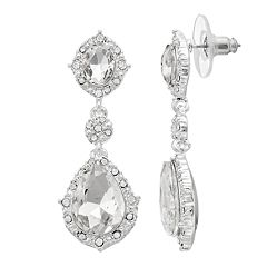 You're Invited… Silver Tone Simulated Crystal & Stone Linear Drop Earrings