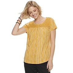 Petite SONOMA Goods for Life™ Print Lace-Yoke Top