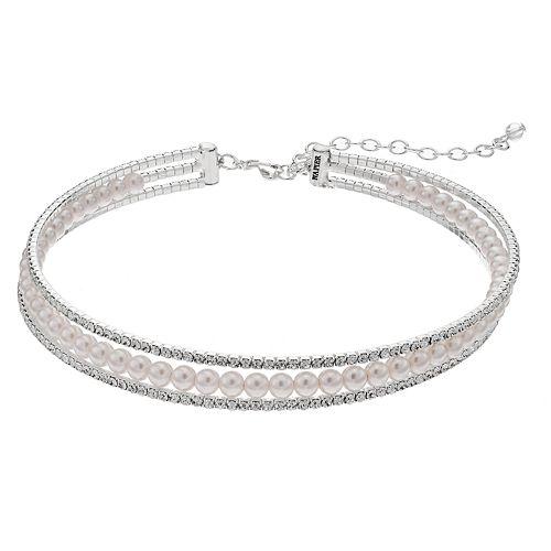 Napier Simulated Pearl Multi Strand Choker Necklace