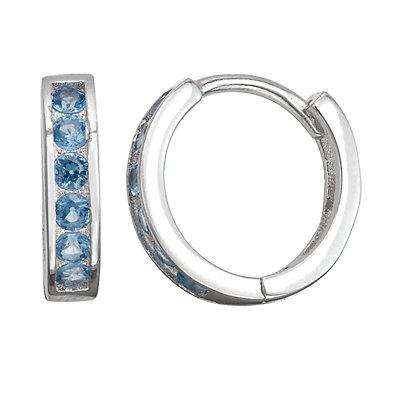 Junior Jewels Kids' Sterling Silver Simulated Birthstone Huggie Hoop Earrings