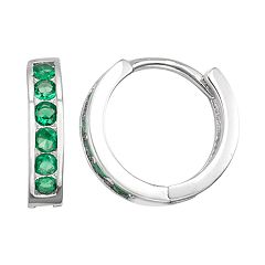 Junior Jewels Kids' Sterling Silver Simulated Birthstone Huggie Hoop Earrings